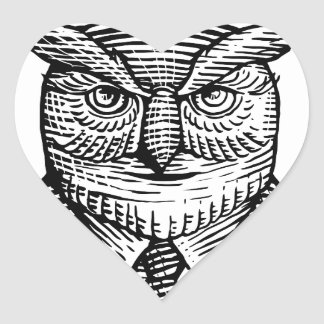 Hipster Owl Suit Woodcut Heart Sticker
