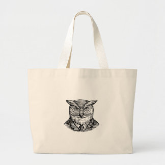 Hipster Owl Suit Woodcut Large Tote Bag
