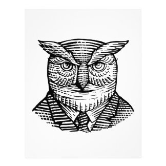 Hipster Owl Suit Woodcut Letterhead