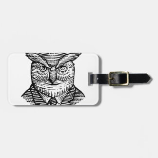 Hipster Owl Suit Woodcut Luggage Tag