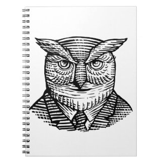 Hipster Owl Suit Woodcut Notebook