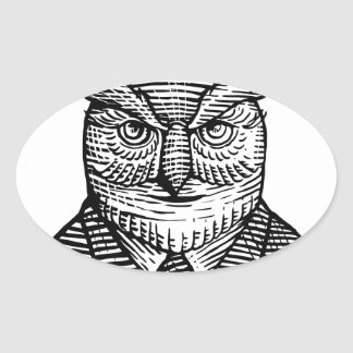 Hipster Owl Suit Woodcut Oval Sticker
