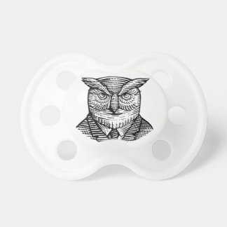 Hipster Owl Suit Woodcut Pacifier