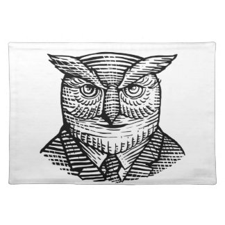 Hipster Owl Suit Woodcut Placemat