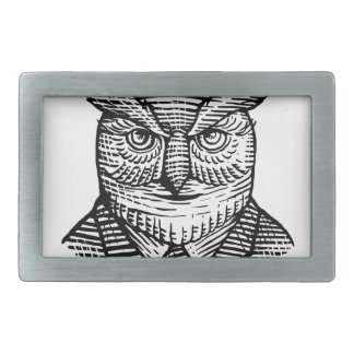 Hipster Owl Suit Woodcut Rectangular Belt Buckles