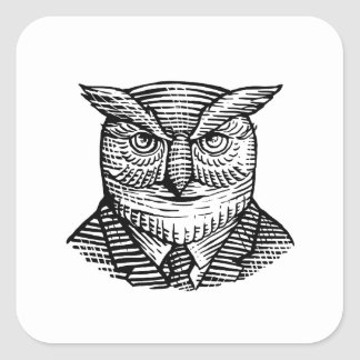 Hipster Owl Suit Woodcut Square Sticker
