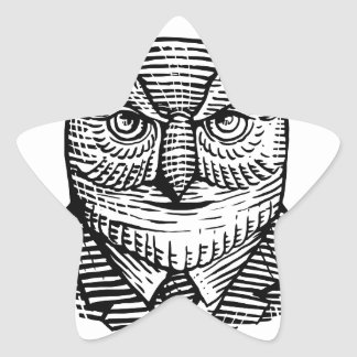 Hipster Owl Suit Woodcut Star Sticker