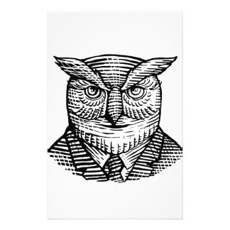 Hipster Owl Suit Woodcut Stationery