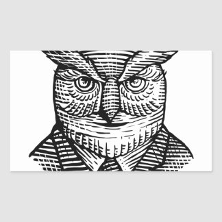 Hipster Owl Suit Woodcut Sticker
