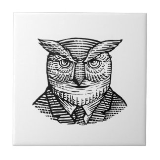 Hipster Owl Suit Woodcut Tile