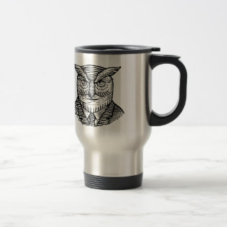 Hipster Owl Suit Woodcut Travel Mug