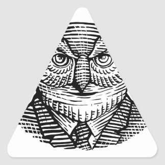 Hipster Owl Suit Woodcut Triangle Sticker