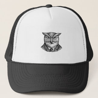 Hipster Owl Suit Woodcut Trucker Hat