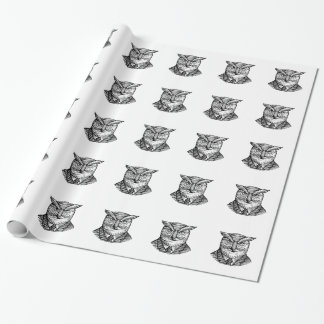 Hipster Owl Suit Woodcut Wrapping Paper