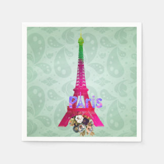 Hipster Paisley Neon French Paris Eiffel Tower Disposable Napkins