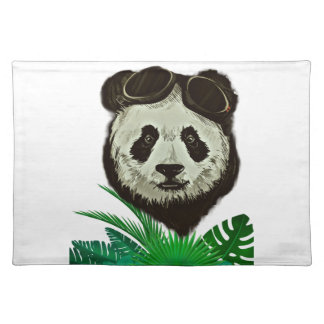 Hipster Panda Bear Animal Placemat
