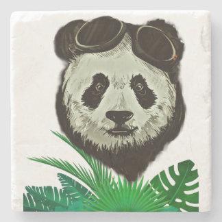 Hipster Panda Bear Animal Stone Coaster