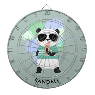 Hipster Panda Bear with Any Name Dartboard