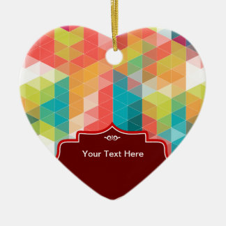 Hipster Pattern Ceramic Heart Ornament