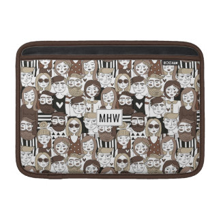 Hipster Pattern custom monogram Macbook sleeves