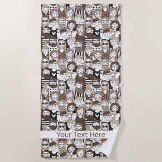 Hipster Pattern custom text beach towel