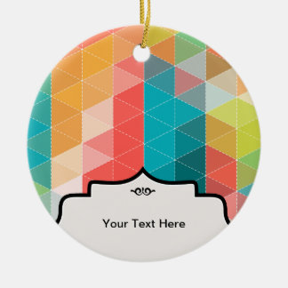 Hipster Pattern Round Ceramic Ornament