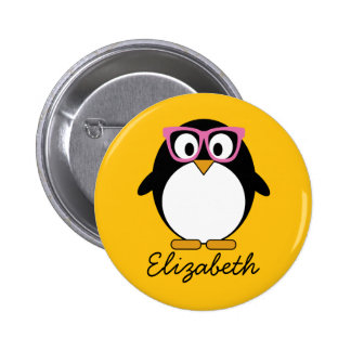 Hipster Penguin - Cute Cartoon Yellow Pink 2 Inch Round Button