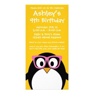 Hipster Penguin - Cute Cartoon Yellow Pink Custom Photo Card