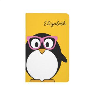 Hipster Penguin - Cute Cartoon Yellow Pink Journals