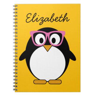 Hipster Penguin - Cute Cartoon Yellow Pink Note Book