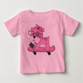 Hipster Pink Bulldog Baby T-Shirt