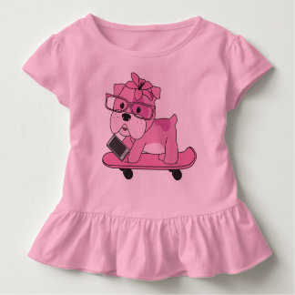 Hipster Pink Bulldog Toddler T-shirt
