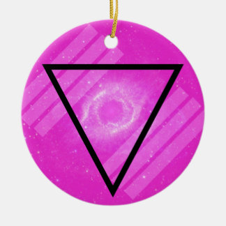 Hipster Pink Galaxy with Black Triangle Christmas Tree Ornaments