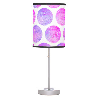 Hipster pink purple faux glitter polka dots table lamp