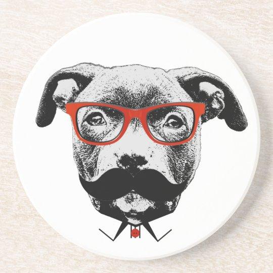 Hipster Pit Bull Terrier Coaster