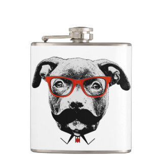 Hipster Pit Bull Terrier Hip Flask
