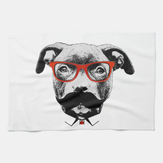 Hipster Pit Bull Terrier Kitchen Towel