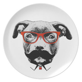 Hipster Pit Bull Terrier Party Plates