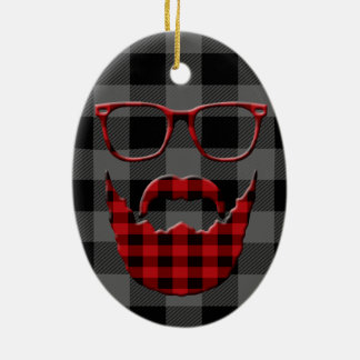 Hipster Plaid Beard Ceramic Oval Ornament