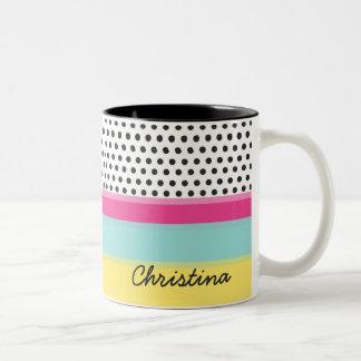 Hipster Polka Dots and Color Blocks Monogram Two-Tone Coffee Mug