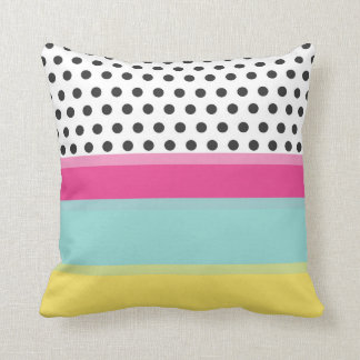 Hipster Polka Dots and Color Blocks Throw Pillow