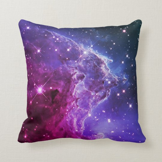 Hipster Purple Ombre Monkey Head Nebula Throw Pillow