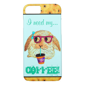 Hipster Rabbit with Coffee iPhone 7 Case