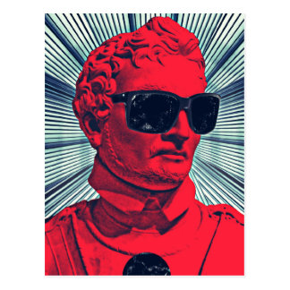 Hipster red statue postcard