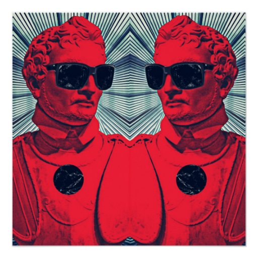 Hipster red statue posters