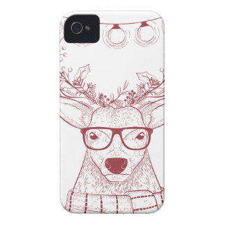 Hipster reindeer Christmas iPhone 4 Case