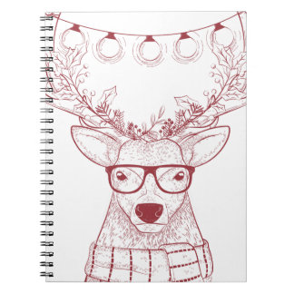Hipster reindeer Christmas Notebooks