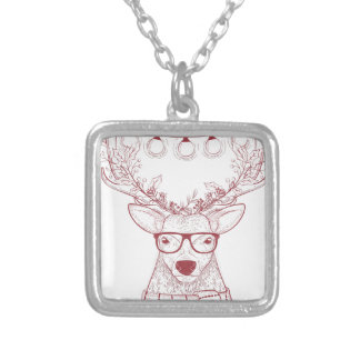 Hipster reindeer Christmas Silver Plated Necklace