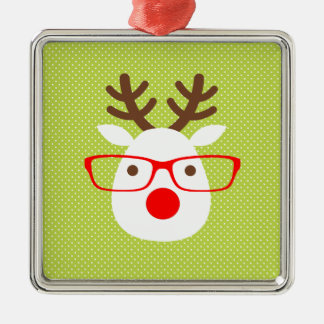 Hipster Reindeer Silver-Colored Square Ornament