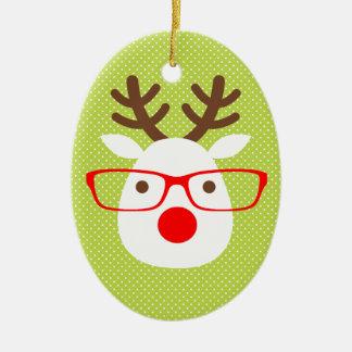 Hipster Reindeer Christmas Tree Ornament